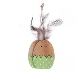 Набор подвеска яйца с перьями - зеленые