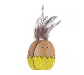 Набор подвеска яйца с перьями - желтые