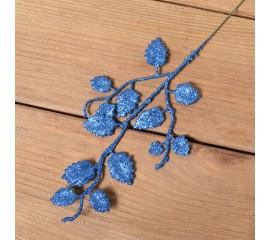 Веточка березка мелкая 26 см - синяя