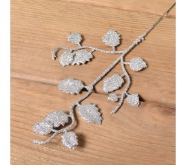 Веточка березка мелкая 26 см - серебро