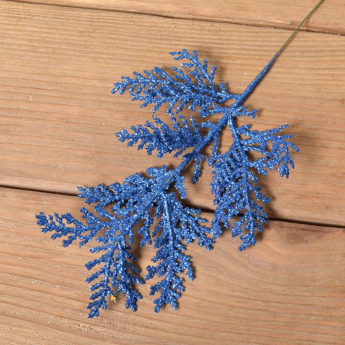 Ветка туя блеск 26 см - синяя