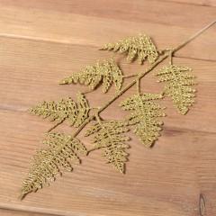 Ветка папоротник блеск 38 см - золото
