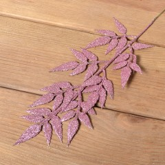 Ветка ива блеск 34 см - розовая