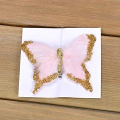 Бабочка декоративная кремовая 12 см