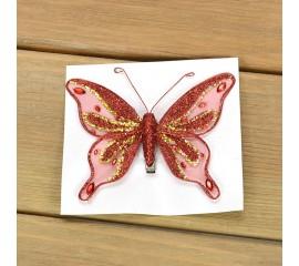 Бабочка декоративная красная 12 см
