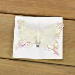 Бабочка декоративная белая 12 см