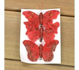 Набор бабочек - красные