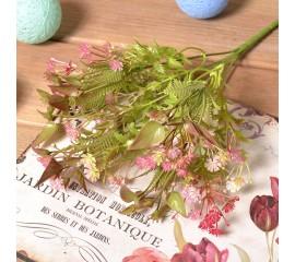 Букет гипсофила с листиками - розовая