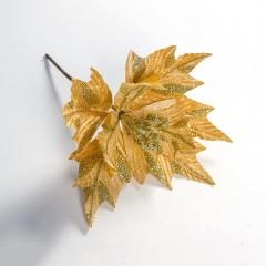 Веточка пуансетия 30 см - золото