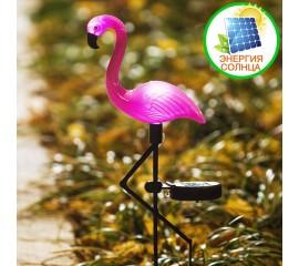 Розовый фламинго с подсветкой, на солнечной батарее