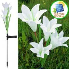 Лилии с подсветкой на солнечной батарее - белые
