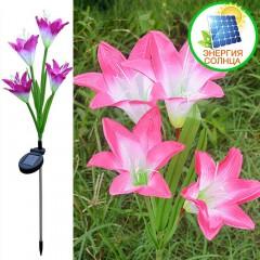 Лилии с подсветкой на солнечной батарее - розовые