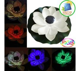 "Плавающий цветок ""Лотос"" белый, с подсветкой RGB на солнечной батарее"