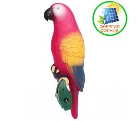 Декоративный попугай с подсветкой, на солнечной батарее - красный