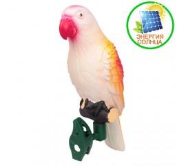 Декоративный попугай с подсветкой, на солнечной батарее - оранжевый