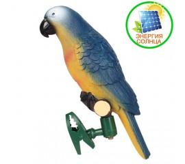 Декоративный попугай с подсветкой, на солнечной батарее - синий