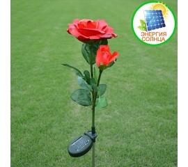 Розы с подсветкой двойные на солнечной батарее - красные