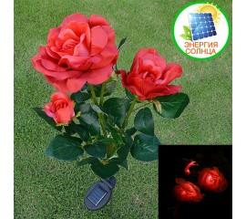 Розы с подсветкой тройные на солнечной батарее - красные