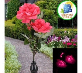 Розы с подсветкой тройные на солнечной батарее - розовые