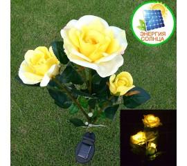 Розы с подсветкой тройные на солнечной батарее - желтые