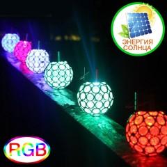 """Солнечный подвесной декор """"Ажурный шарик"""", RGB"""