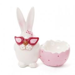 """Подставка для яйца """"Кролик в красных очках"""" 12 см"""