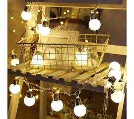 """Led гирлянда """"Лампочки матовые (4,5 см)"""" 20 ламп, 3 м, на батарейках"""