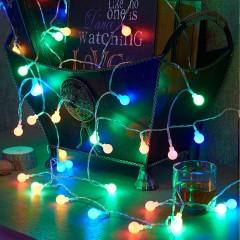 """Світлодіодна гірлянда """"Матові кульки"""", 10 ламп, 1,5 м, кольорова, на батарейках"""