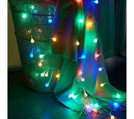 "Гирлянда ""Матовые шарики"" 20 ламп 3 м, цветная, на батарейках"