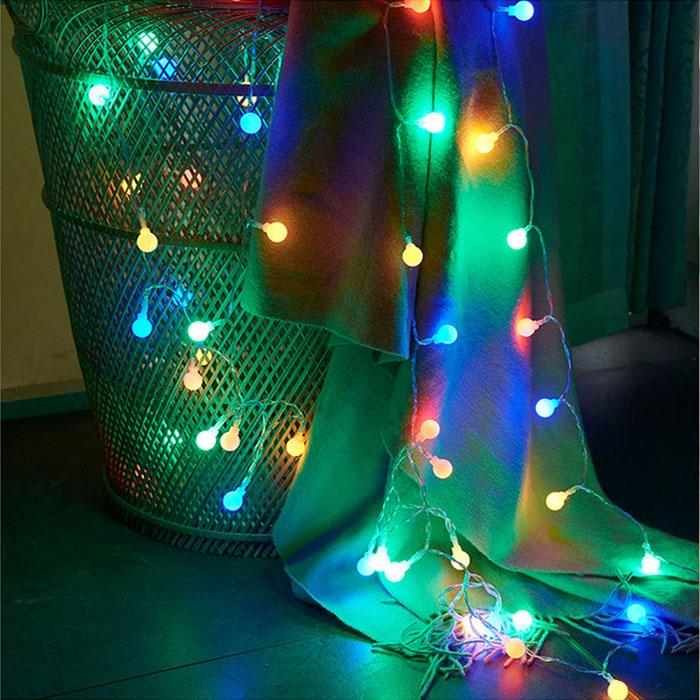 "Гирлянда ""Матовые шарики"", 10led, 1,5 м, цветная, на батарейках"
