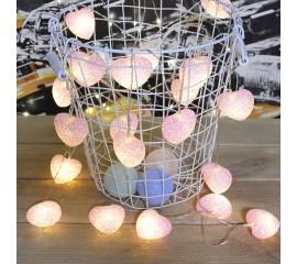 """Led гирлянда """"Сердечки силиконовые - розовые"""" 20 ламп, 3 м, на батарейках"""