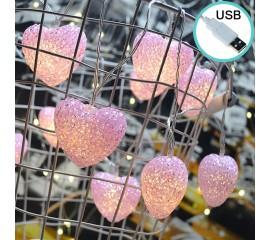 """Led гирлянда """"Сердечки силиконовые - розовые"""" 20 ламп, 3 м, 8 режимов, usb"""