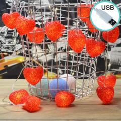 """Led гирлянда """"Сердечки силиконовые - красные"""" 10 ламп, 1,5 м, 8 режимов, usb"""