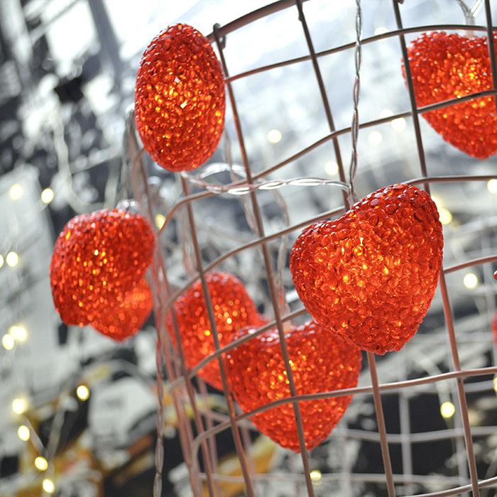"""Led гирлянда """"Сердечки силиконовые - красные"""" 20 ламп, 3 м, на батарейках"""
