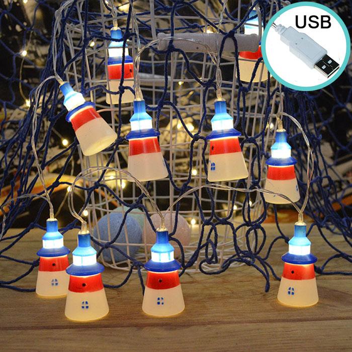 """Led гирлянда """"Маяки"""",10 ламп 1,5 м, usb 8 режимов"""