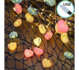 """Led гирлянда """"Сердечки кракелюр - микс"""" 20 ламп, 3 м, usb"""