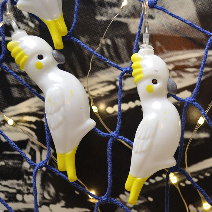 "Led гирлянда ""Попугайчики белые"" 10 ламп, 1,5 м, на батарейках"