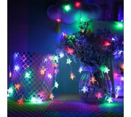 "Гирлянда ""Звездочки"" 80 ламп 10 м, цветная, на батарейках"