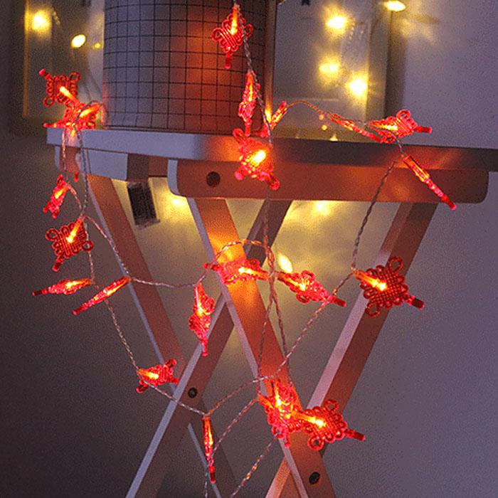"""Led гирлянда """"Китайский узел"""" 20 ламп, 3 м, на батарейках"""