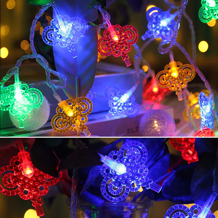 "Led гирлянда ""Китайский узел"" 20 ламп, 3 м, на батарейках, цветная"