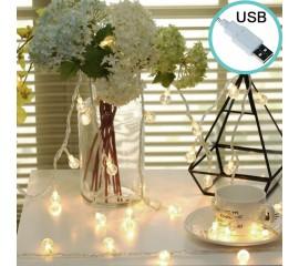 """Led гирлянда """"Хрустальные шарики"""" 35 ламп 5 м, теплый белый, usb, 8 режимов"""