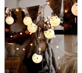 """Led гирлянда """"Лампочки-снеговички"""" 10 ламп 1,5 м"""