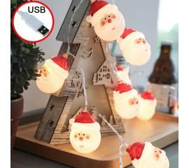 "Светодиодная гирлянда ""Дед Мороз"", 10 ламп 1,5 м, usb"