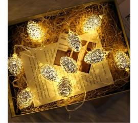 "Led гирлянда ""Серебряные шишки"", 20 ламп, 3 м, теплый белый"