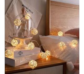 """Гирлянда ротанговые шары """"Белые"""", 10 ламп,1,5 м. на батарейках"""