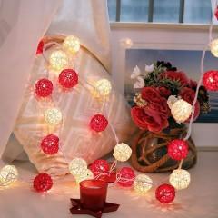 """Гірлянда ротангові кулі """"Червоні + білі"""", 20 ламп, 3 м. на батарейках"""