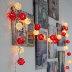 """Гірлянда ротангові кулі """"Червоні + білі"""", 40 ламп, 6 м. на батарейках"""