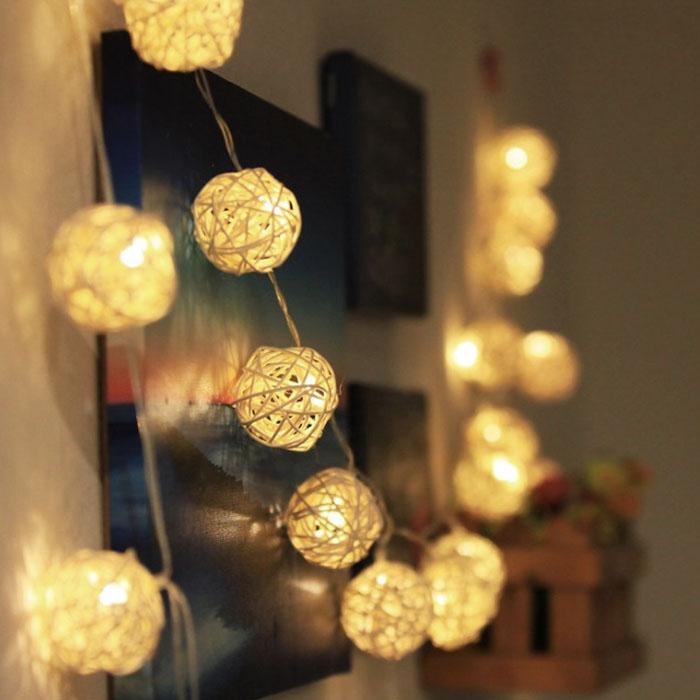 """Гирлянда ротанговые шары """"Белые"""", 20 ламп, 3 м. на  батарейках"""