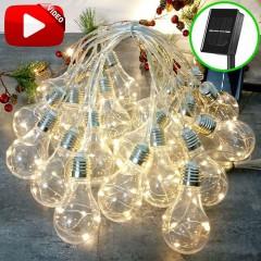 """Гирлянда """"Лампочки с LED нитями"""" на солнечной батарее, 20 ламп, 6 м, 8 режимов, теплый белый"""