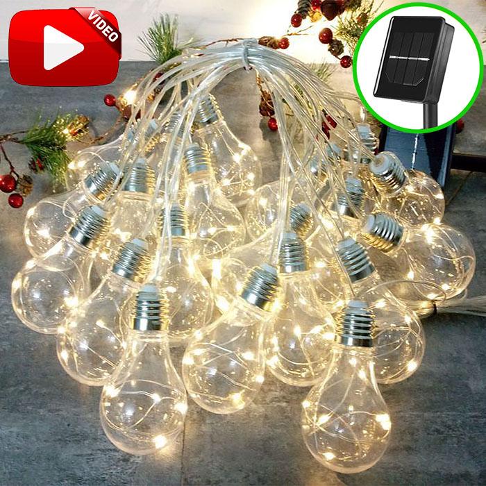 """Гирлянда """"Лампочки с LED нитями"""" на солнечной батарее, 10 ламп, 3 м, 8 режимов, теплый белый"""